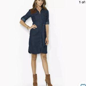 Lauren Ralph Lauren Denim Shirt Dress Sz 12 Suede